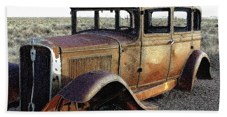Arizona Hand Towel featuring the photograph Abandonded Along Rt 66 by Nelson Strong