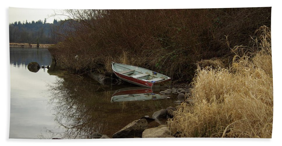 Abandoned Bath Sheet featuring the photograph Abandoned Boat II by Cindy Johnston