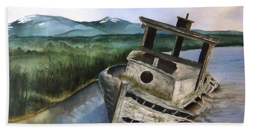 Watercolor Bath Towel featuring the painting Abandoned by Brenda Owen