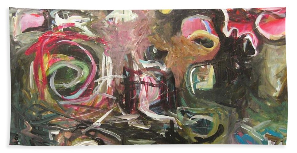 Abstract Paintings Hand Towel featuring the painting Abandoned Idea2 by Seon-Jeong Kim