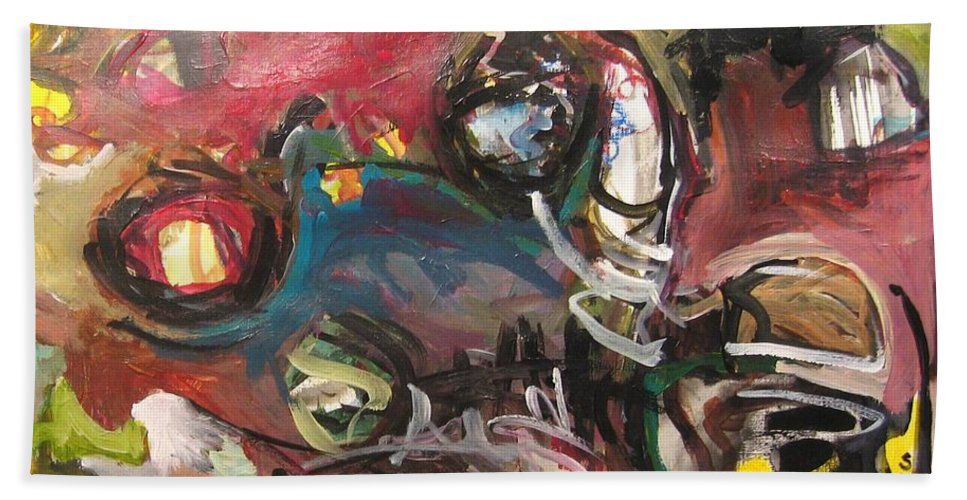 Abstract Paintings Bath Towel featuring the painting Abandoned Ideas by Seon-Jeong Kim