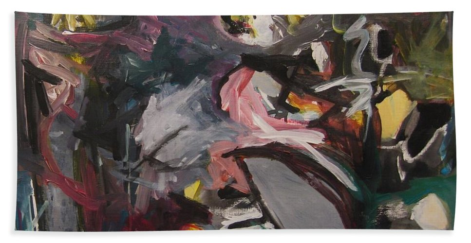Abstract Paintings Hand Towel featuring the painting Abandoned Ideas4 by Seon-Jeong Kim