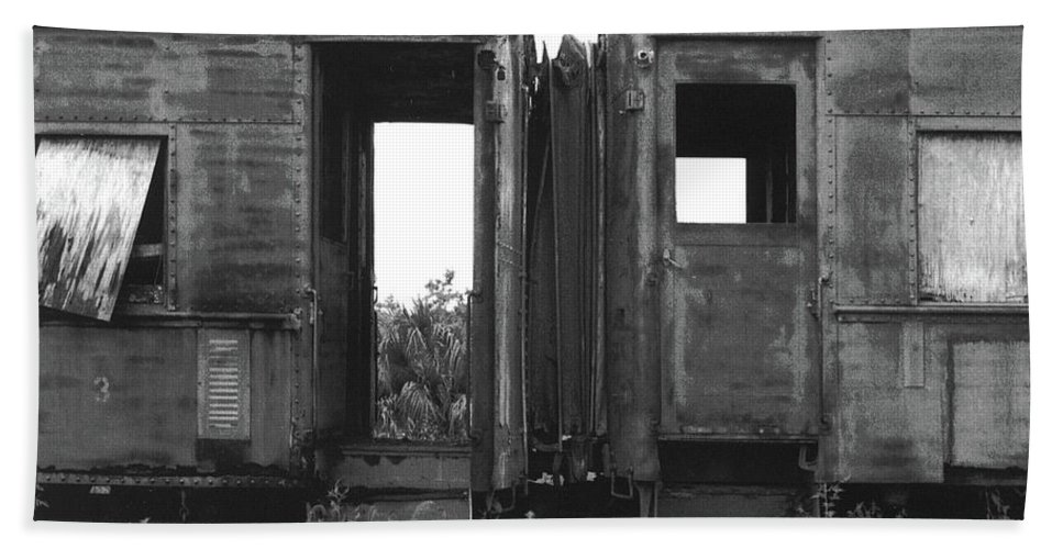 Distressed Bath Sheet featuring the photograph Abandoned Train Cars B by John Myers