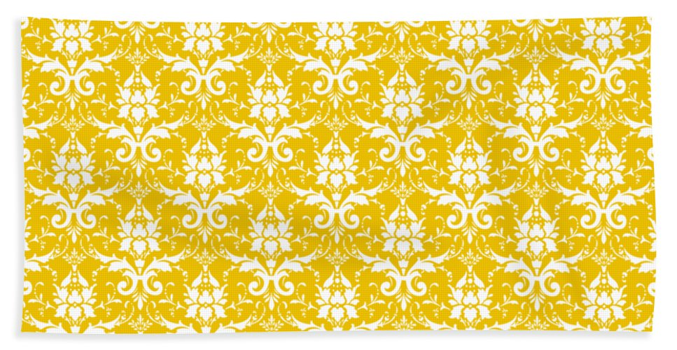 Damask Hand Towel featuring the digital art Abby Damask In White Pattern 05-p0113 by Custom Home Fashions