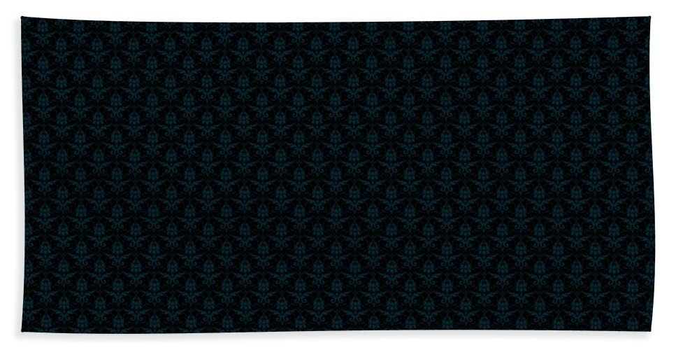 Damask Hand Towel featuring the digital art Abby Damask With A Black Background 18-p0113 by Custom Home Fashions