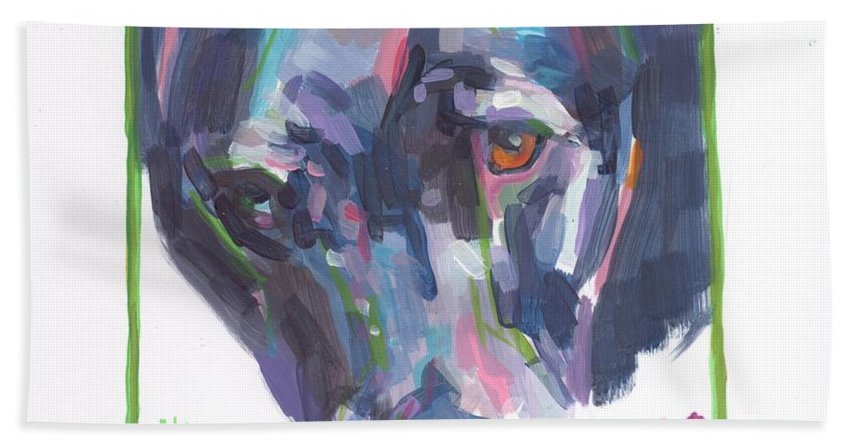Dog Painting Hand Towel featuring the painting Abby by Kimberly Santini