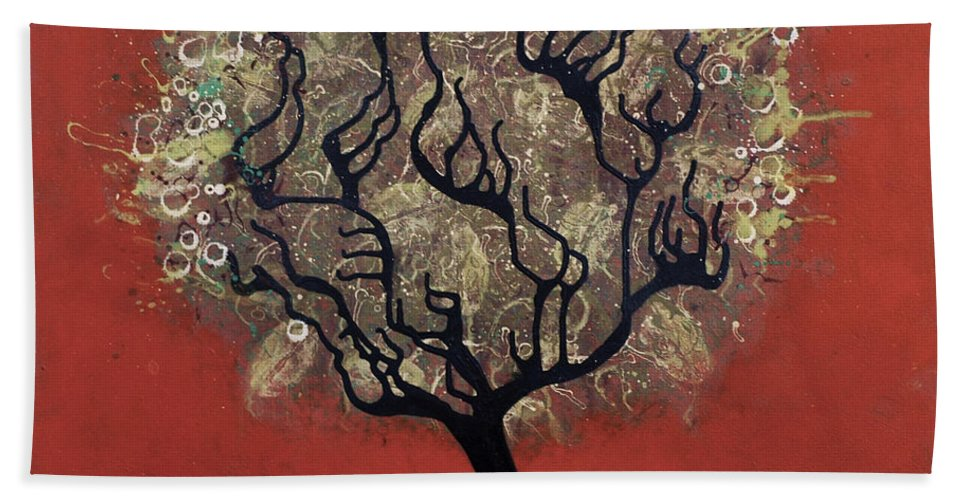 Tree Bath Sheet featuring the painting Abc Tree by Kelly Jade King