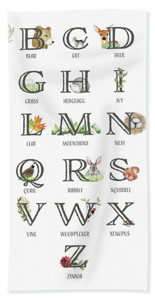 Abc Print Hand Towel featuring the digital art Abc Woodland Alphabet Sampler by Pink Forest Cafe