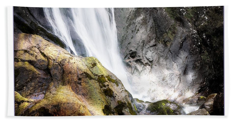 Aber Hand Towel featuring the photograph Aber Falls by Mal Bray