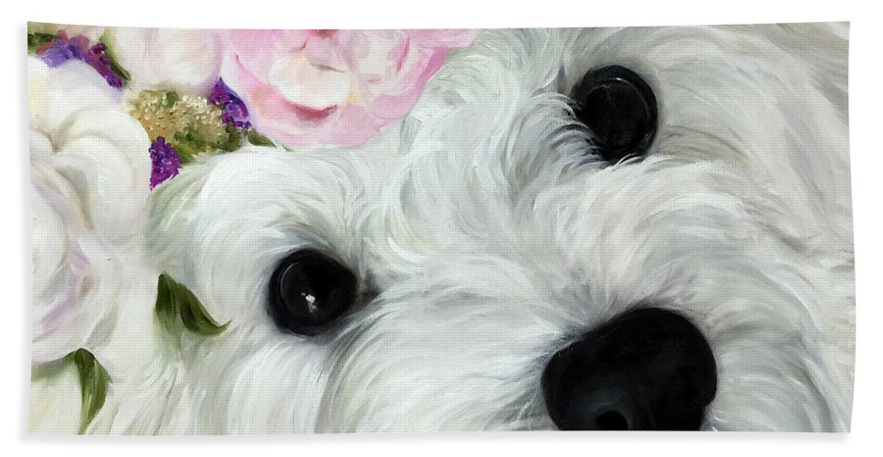 Maltipoo Hand Towel featuring the painting Abigail's Flowers by Mary Sparrow