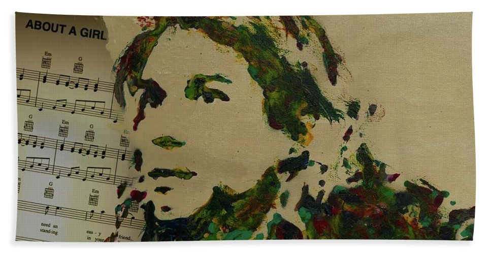 Kurt Cobain Hand Towel featuring the mixed media About A Girl by Laura Toth