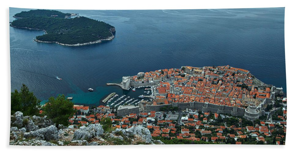 Dubrovnik Bath Towel featuring the photograph Above Dubrovnik - Croatia by Stuart Litoff