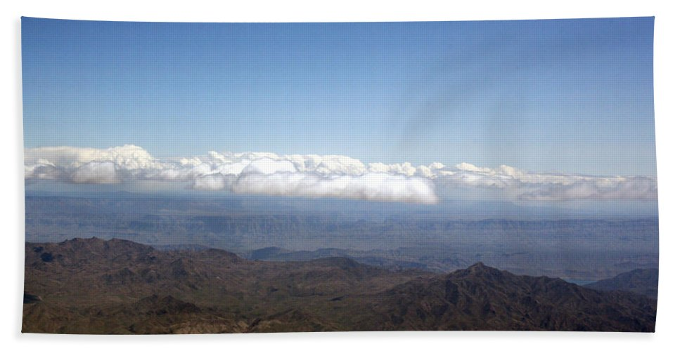 Nevada Desert Clouds Scenery Hills Landscape Sky Canyon Hand Towel featuring the photograph Above Nevada by Andrea Lawrence