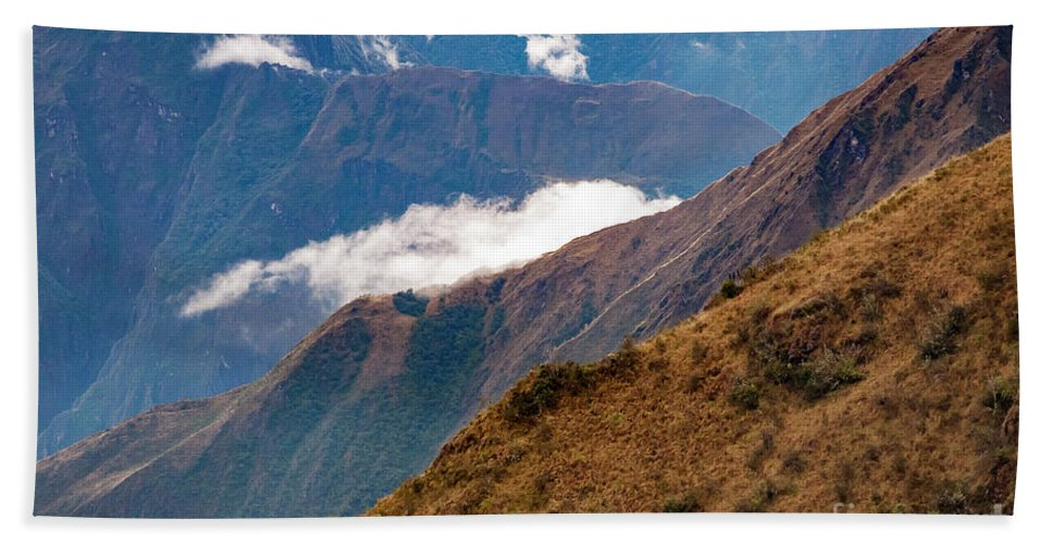 Peruvian Andes Hand Towel featuring the photograph Above The Clouds In The Andes by Bob Phillips