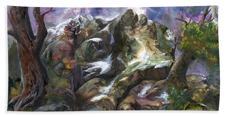 Mountains Hand Towel featuring the painting Above The Timberline by Sherry Shipley