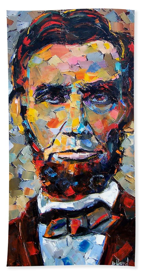 President Bath Towel featuring the painting Abraham Lincoln portrait by Debra Hurd