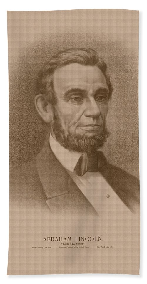 Abraham Lincoln Hand Towel featuring the drawing Abraham Lincoln - Savior Of His Country by War Is Hell Store