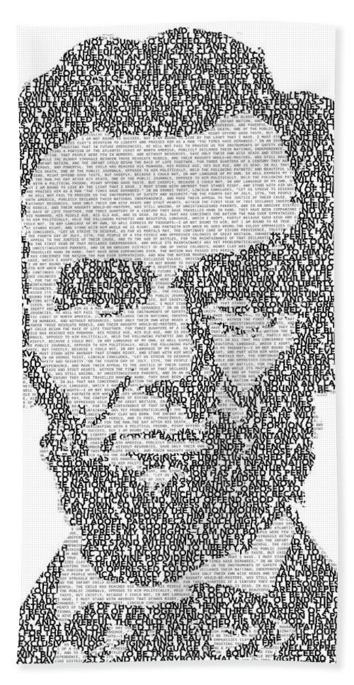 Abraham Bath Sheet featuring the digital art Abraham Lincoln Typography by Jurq Studio
