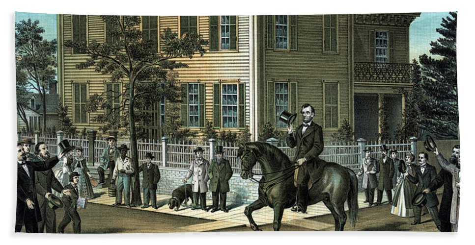 Abraham Lincoln Bath Towel featuring the painting Abraham Lincoln's Return Home by War Is Hell Store
