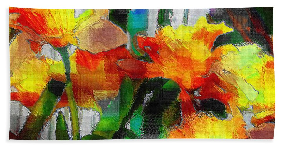 Absinthe Bath Sheet featuring the painting Absinthe Daffies by RC DeWinter