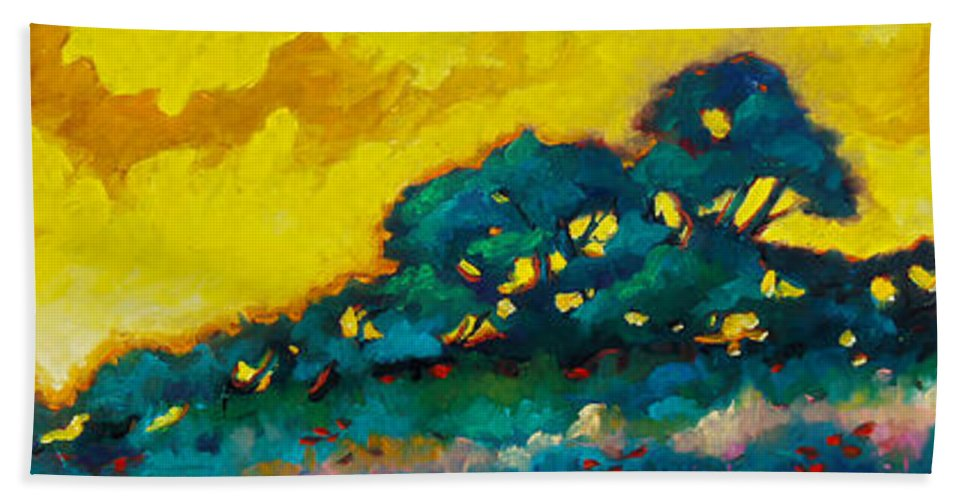 Abstract Hand Towel featuring the painting Abstract 01 by Richard T Pranke