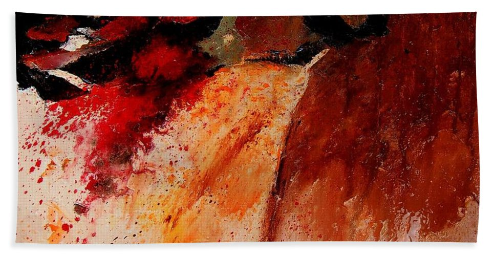 Abstract Hand Towel featuring the painting Abstract 010607 by Pol Ledent
