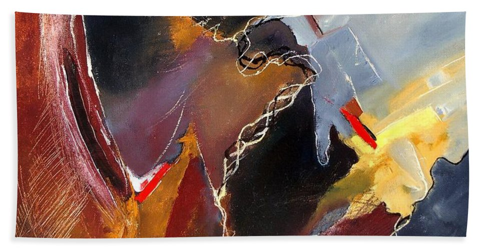 Abstract Hand Towel featuring the painting Abstract 020606 by Pol Ledent