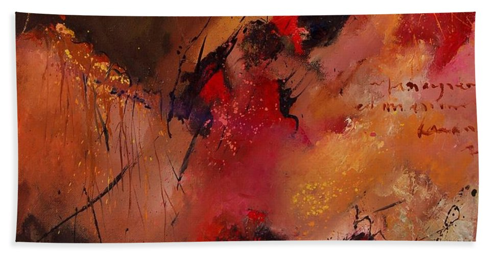 Abstract Hand Towel featuring the painting Abstract 0408 by Pol Ledent