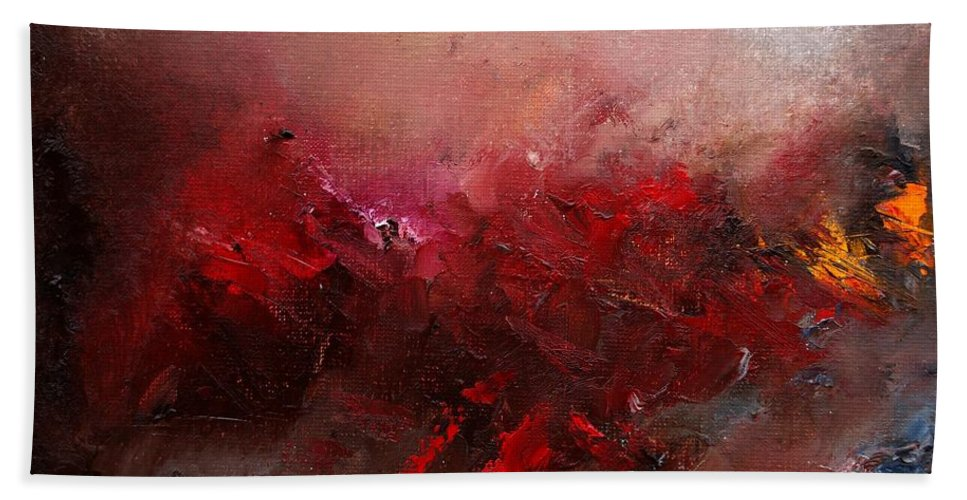 Abstract Bath Towel featuring the painting Abstract 056 by Pol Ledent