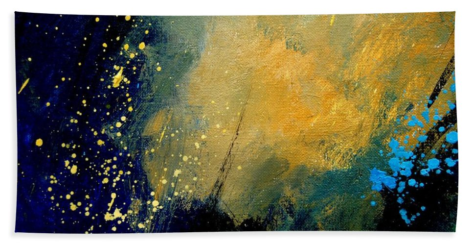 Abstract Hand Towel featuring the painting Abstract 061 by Pol Ledent