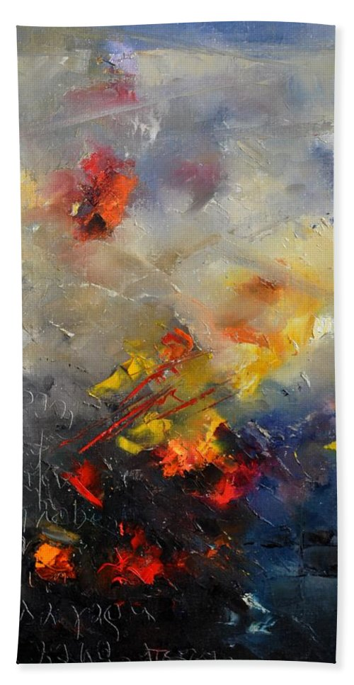 Abstract Hand Towel featuring the painting Abstract 0805 by Pol Ledent