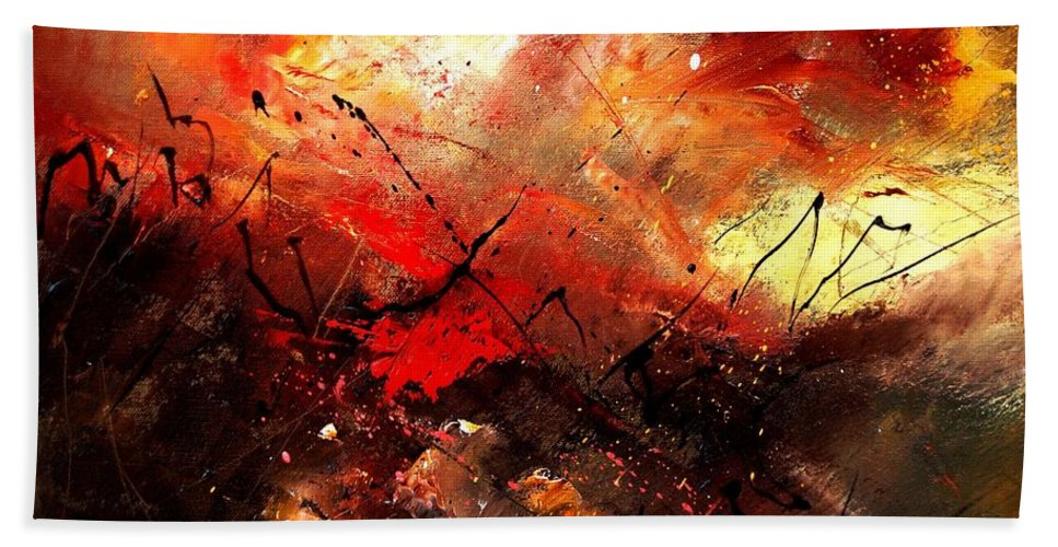 Abstract Bath Towel featuring the painting Abstract 100202 by Pol Ledent