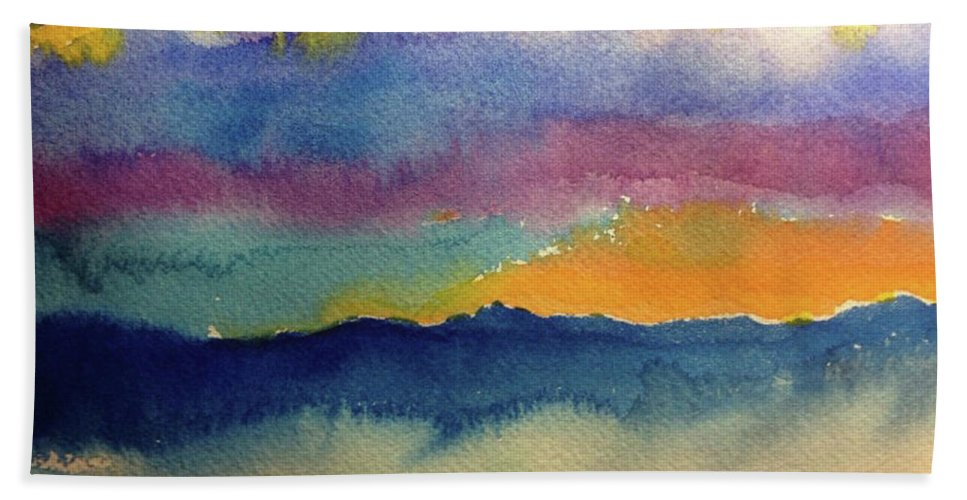 Abstract Bath Sheet featuring the painting Peaking by Bonny Butler