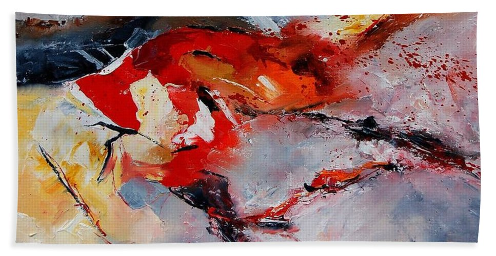 Abstract Hand Towel featuring the painting Abstract 1106 by Pol Ledent