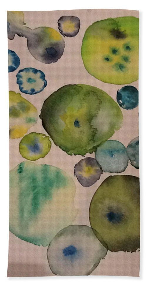 Abstract Hand Towel featuring the painting Greens by Bonny Butler