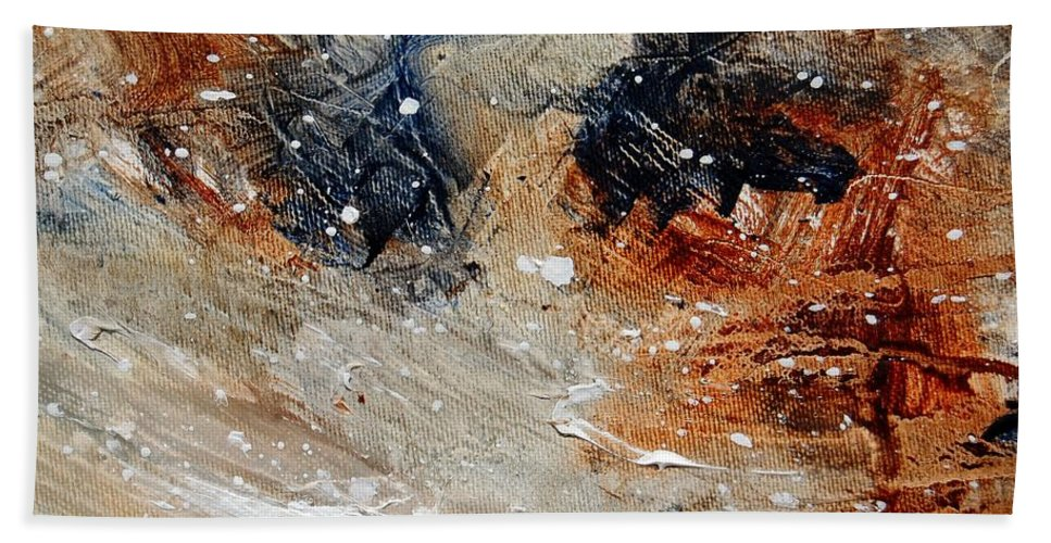 Abstract Hand Towel featuring the painting Abstract 1236 by Pol Ledent