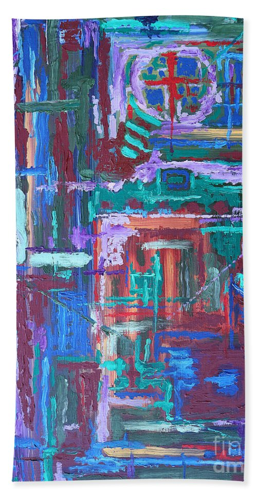 Abstract Hand Towel featuring the painting Abstract 27 by Patrick J Murphy