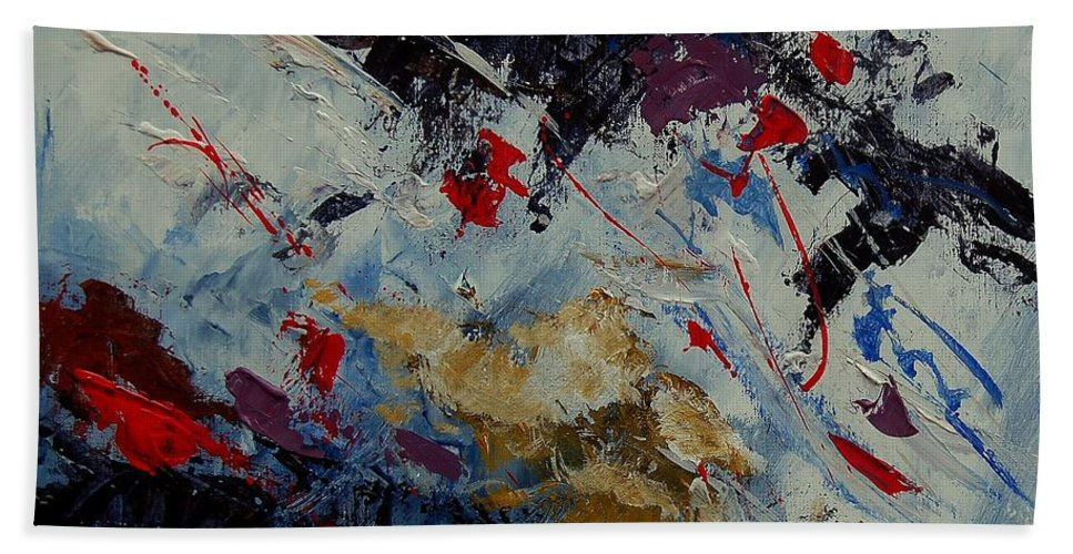 Abstract Bath Towel featuring the painting Abstract 33900122 by Pol Ledent