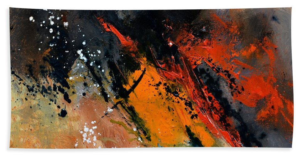 Abstract Hand Towel featuring the painting Abstract 44613062 by Pol Ledent