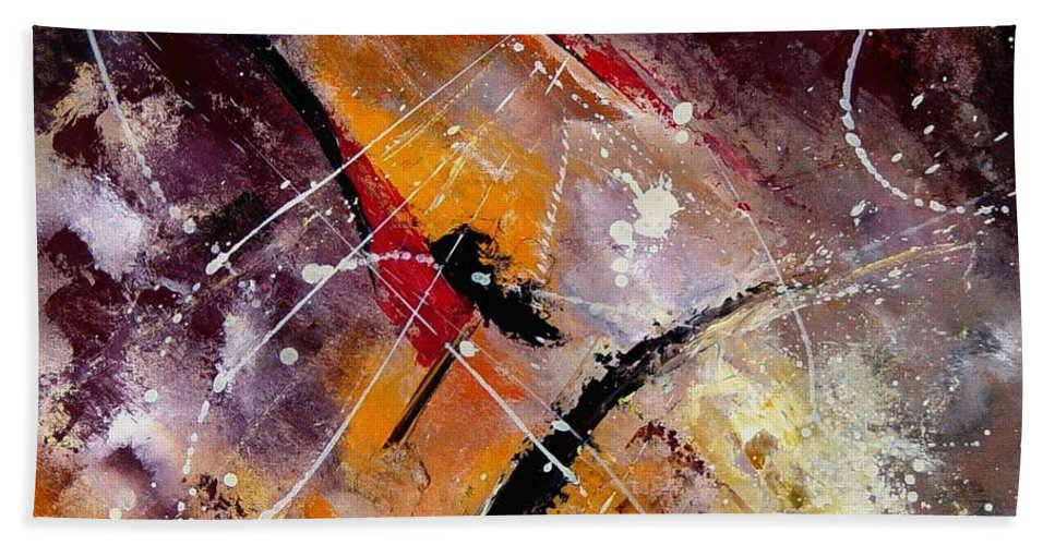 Abstract Hand Towel featuring the painting Abstract 45 by Pol Ledent
