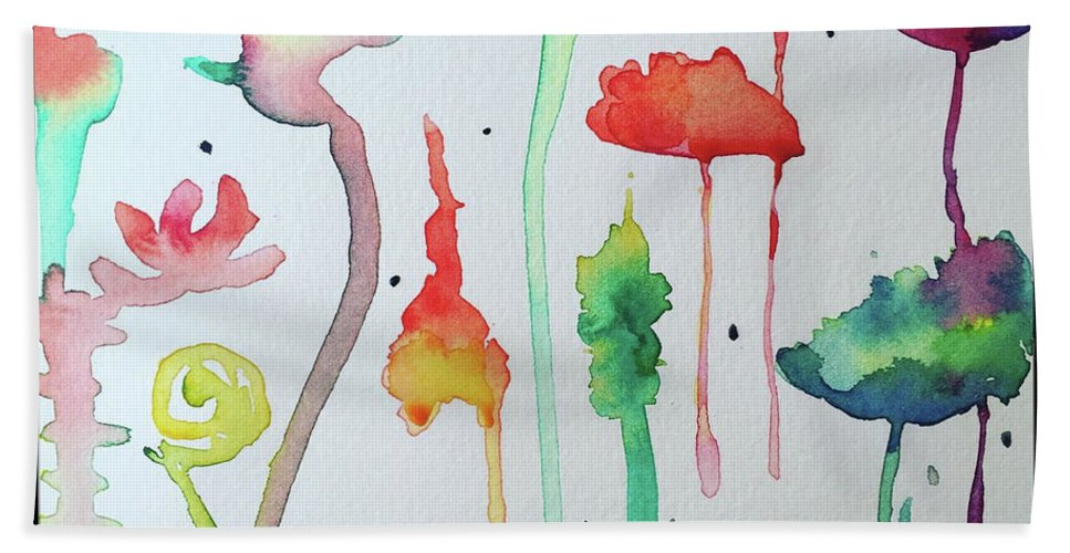 Abstract Hand Towel featuring the painting Blob Flowers by Bonny Butler