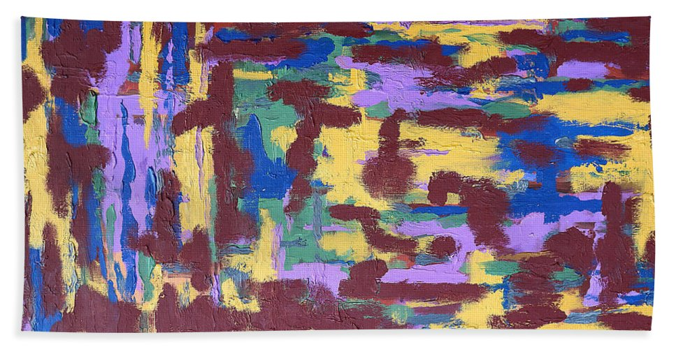 Abstract Hand Towel featuring the painting Abstract 50 by Patrick J Murphy