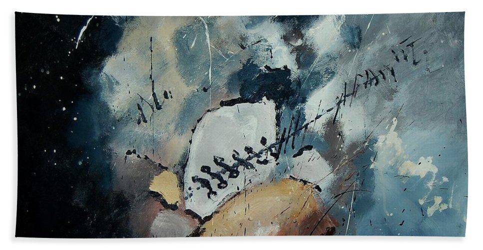 Abstract Hand Towel featuring the painting Abstract 55902192 by Pol Ledent