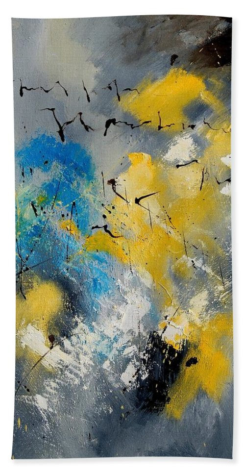 Abstract Hand Towel featuring the painting Abstract 569070 by Pol Ledent