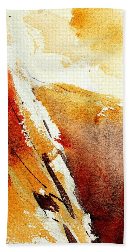 Abstract Bath Towel featuring the painting Abstract 5869 by Pol Ledent