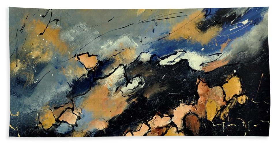 Abstract Hand Towel featuring the painting Abstract 6601112 by Pol Ledent