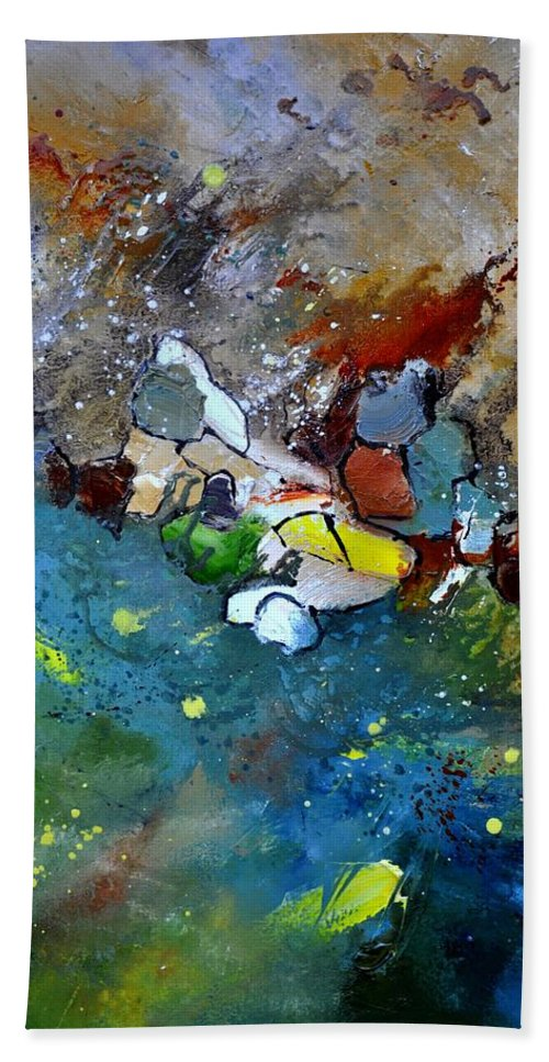 Abstract Hand Towel featuring the painting Abstract 66018002 by Pol Ledent