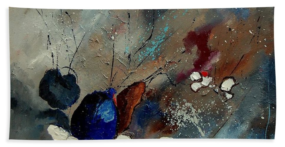 Abstract Hand Towel featuring the painting Abstract 67909010 by Pol Ledent