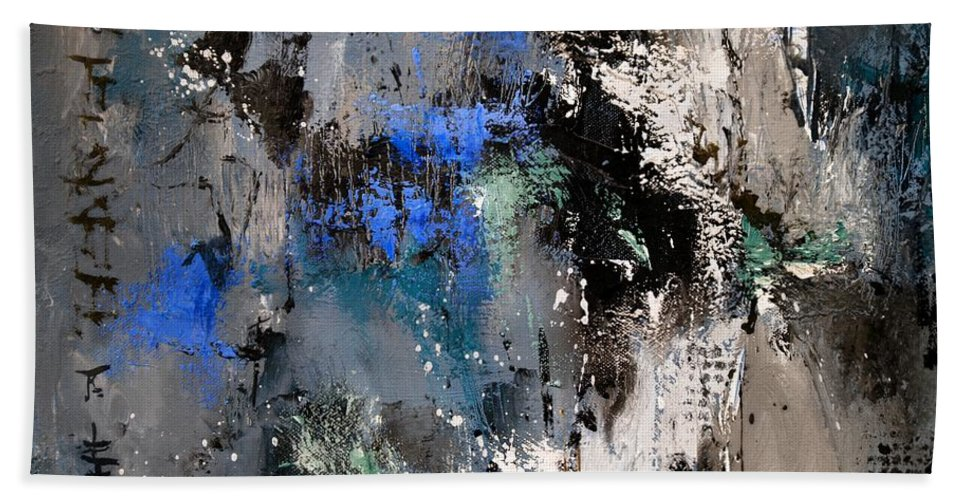 Abstract Hand Towel featuring the painting Abstract 69 54525 by Pol Ledent