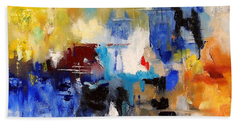 Abstract Hand Towel featuring the painting Abstract 69070 by Pol Ledent